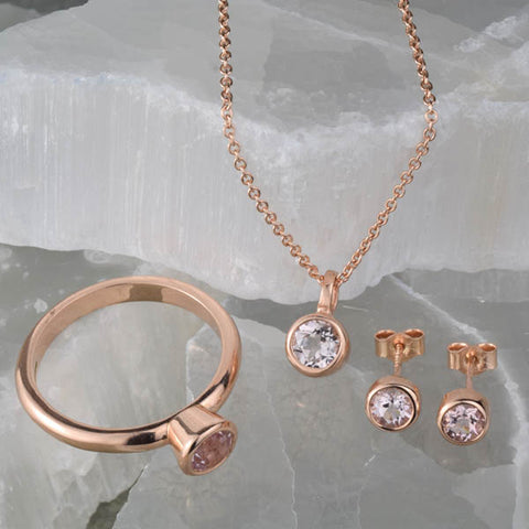Morganite Solitaire collection in rose gold