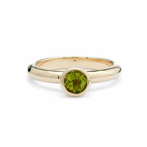 Peridot gold solitaire ring