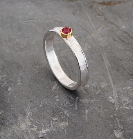 Ruby silver and 9ct gold Storybook ring