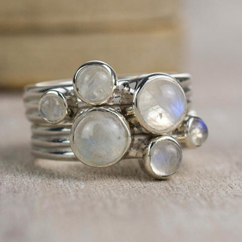 Two Nebula Snowdrift Moonstone rings