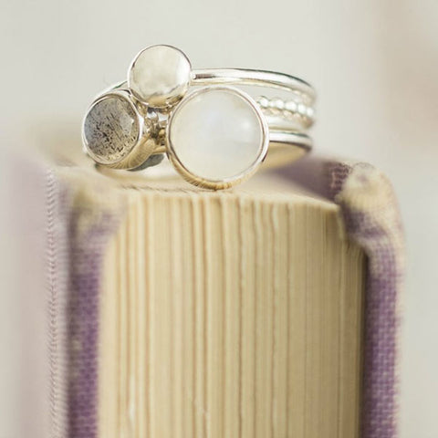 Mist moonstone stacking ring set