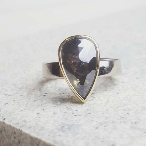 Custom grey diamond 18ct gold ring by Alison Moore Designs