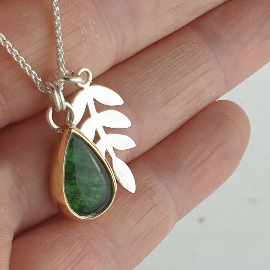 Jorunn Silver and Gold Teardrop Green Tourmaline Leaf Pendant