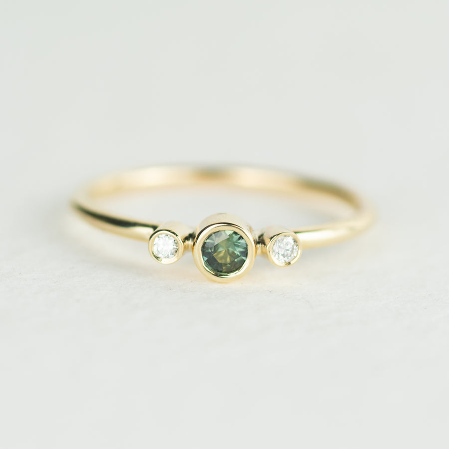 Green Sapphire and Diamond Trilogy Ring