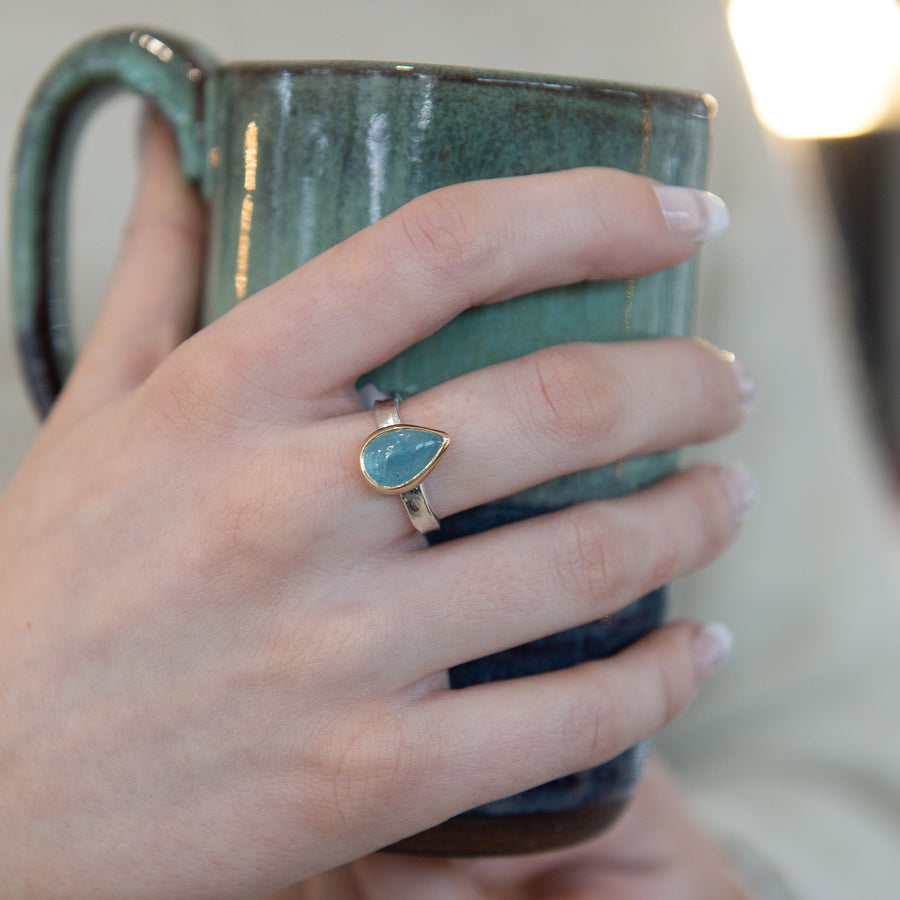 One Of A Kind Silver And Gold Teardrop Aquamarine Storybook Ring - No.117