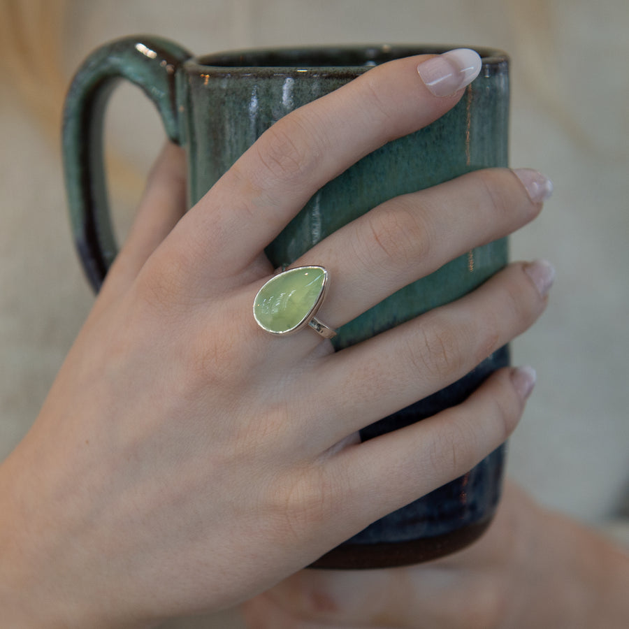 One Of A Kind Silver Pear Prehnite Ring - No.316