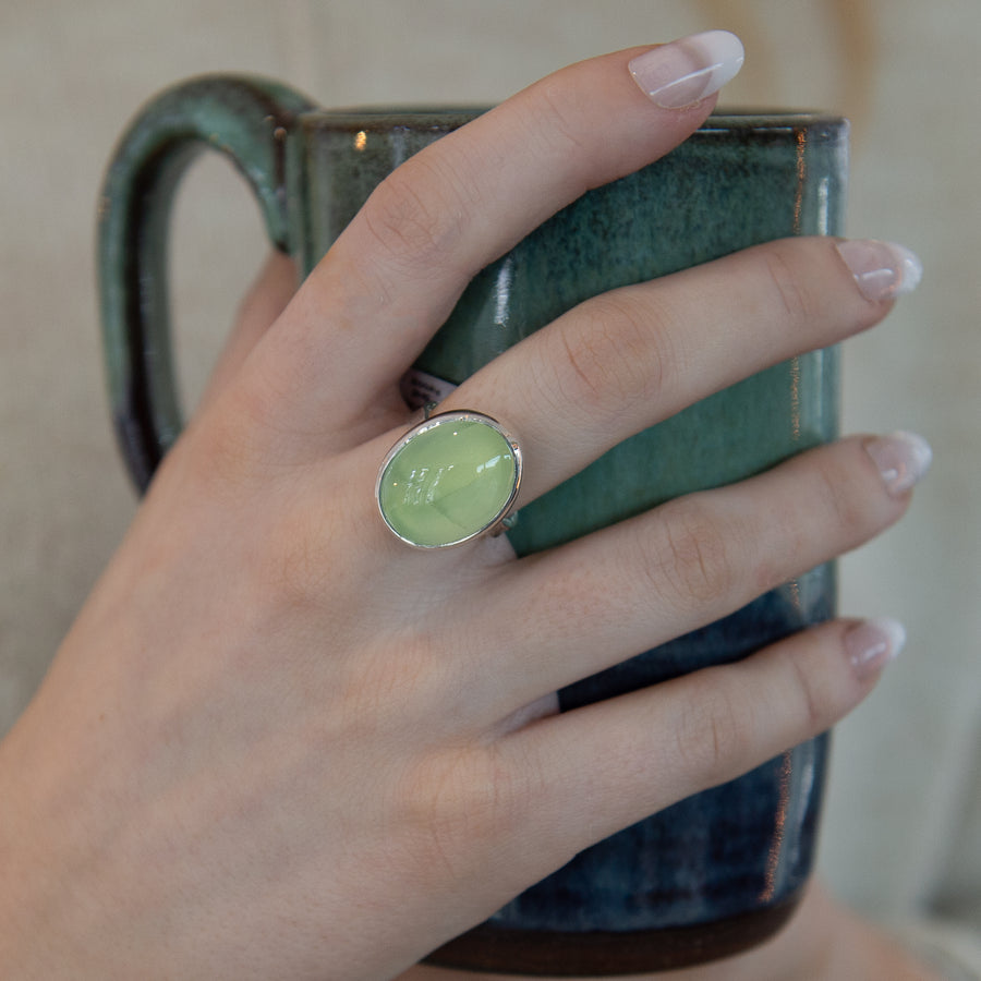 One Of A Kind Silver Oval Prehnite Ring - No.326