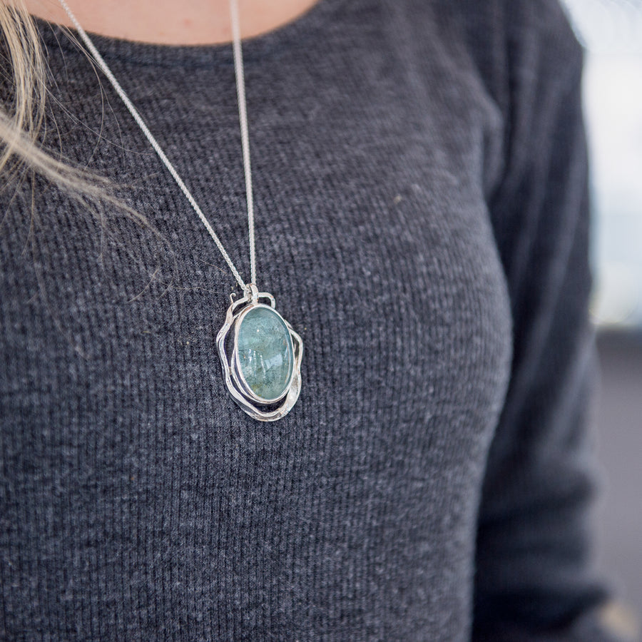 One Of A Kind  Aquamarine Kelp Pendant - No.91