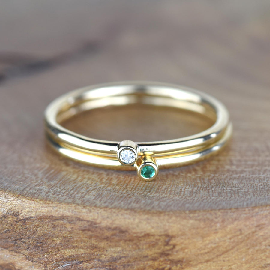 Andromeda Gold Single Birthstone Stacker Ring