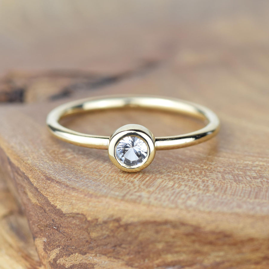Andromeda White Sapphire Gold Ring