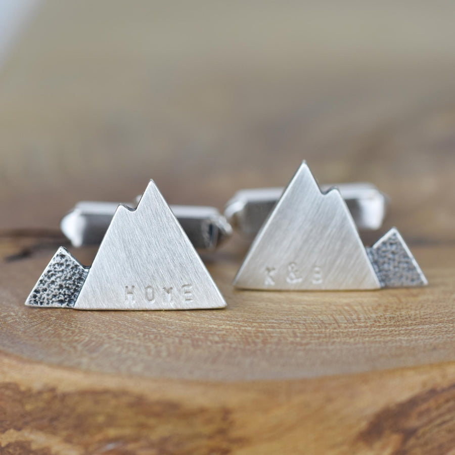 Contour Personalised Silver Mountain Cuff links