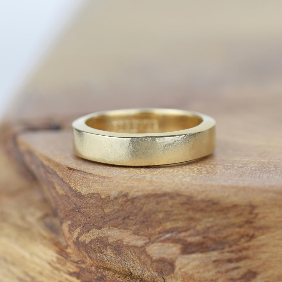 Organic Textured 4mm Gold Ring