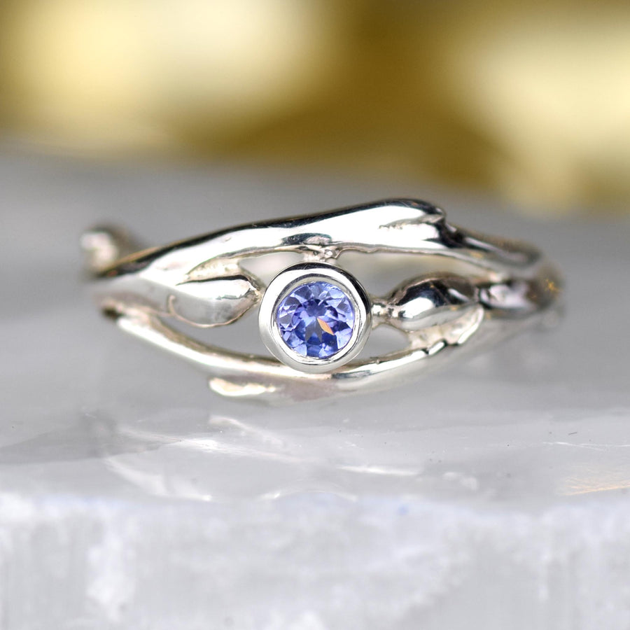 Entwined Silver Tanzanite Ring
