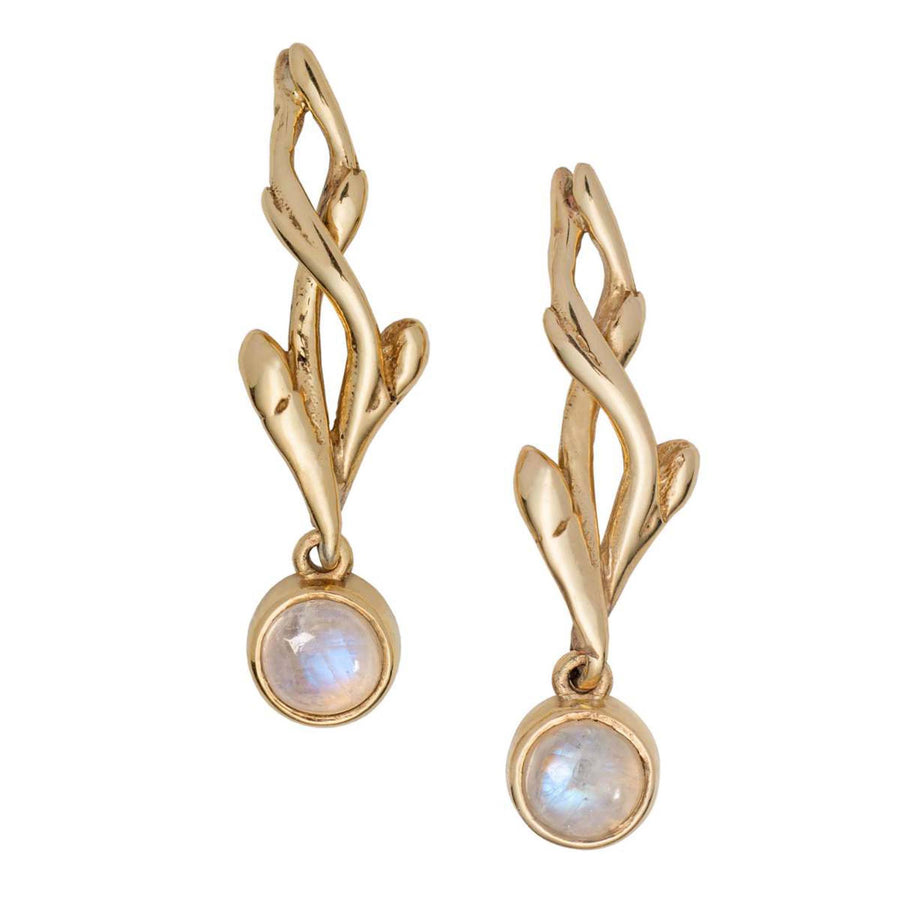 Entwined Moonstone Gold Drop Earrings