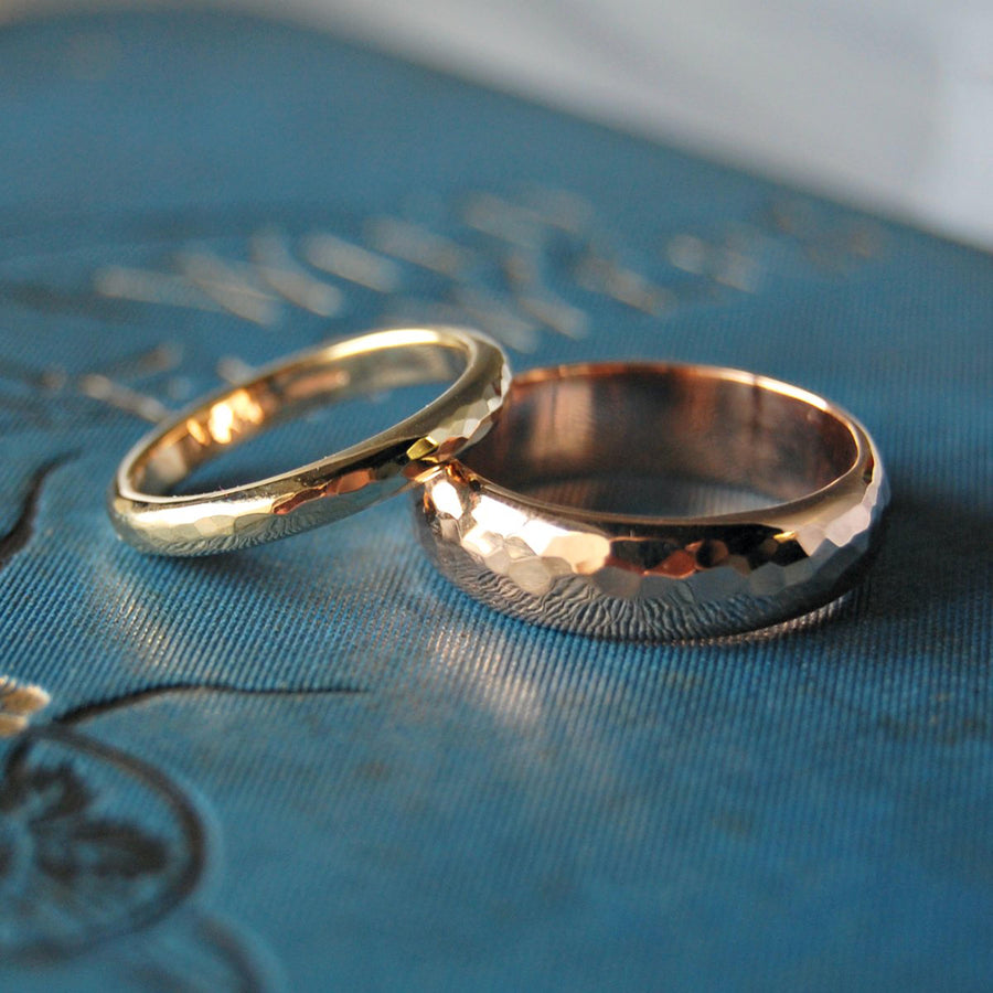 Simple Hammered Gold Wedding Ring