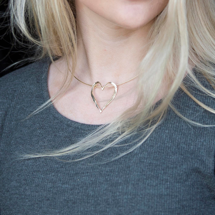 Large Gold Open Heart Necklet