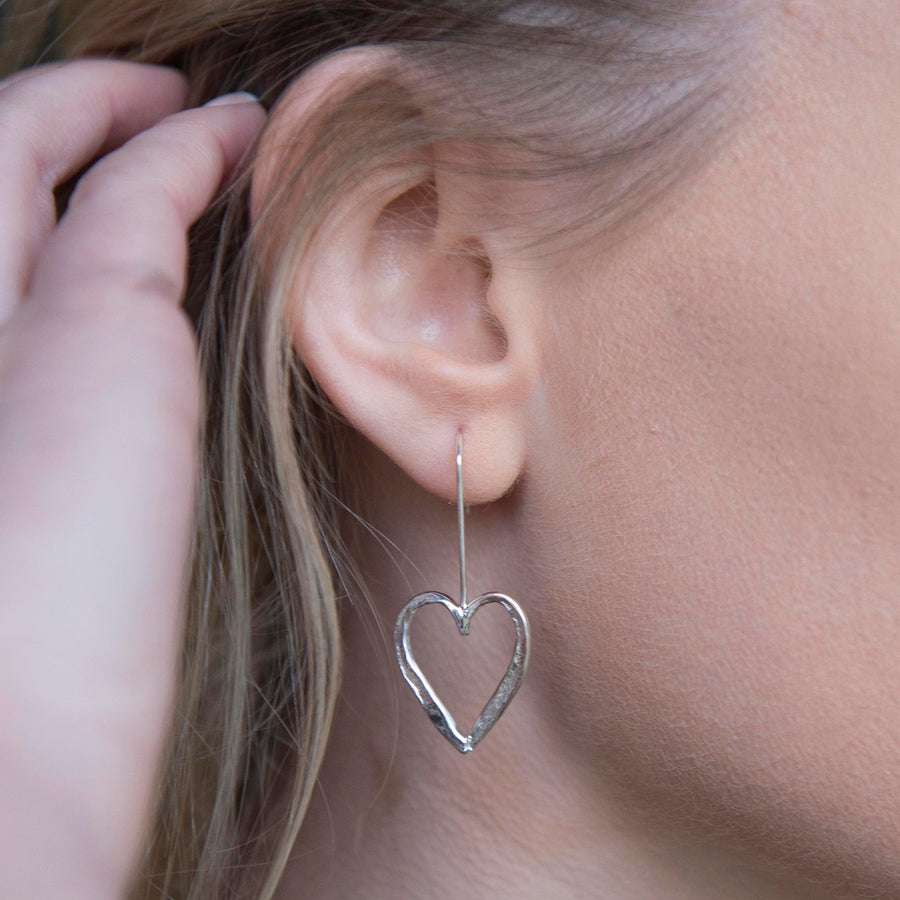 Open Heart Hook Earrings