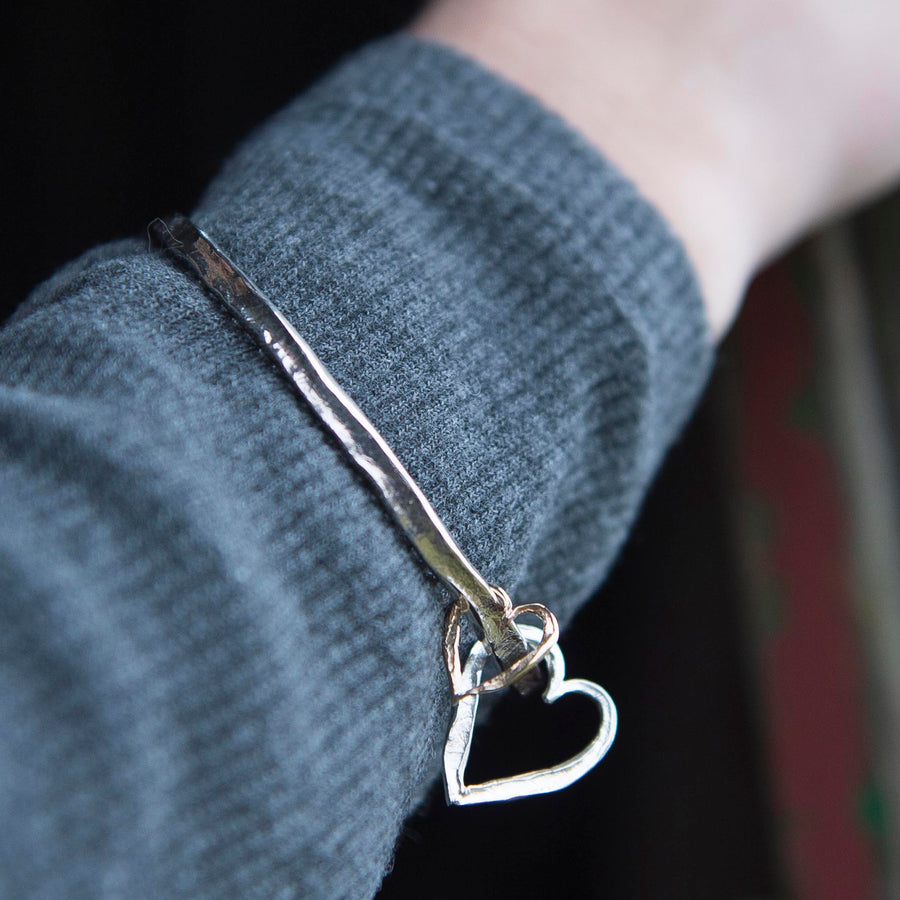 Silver and Gold Double Heart Bangle