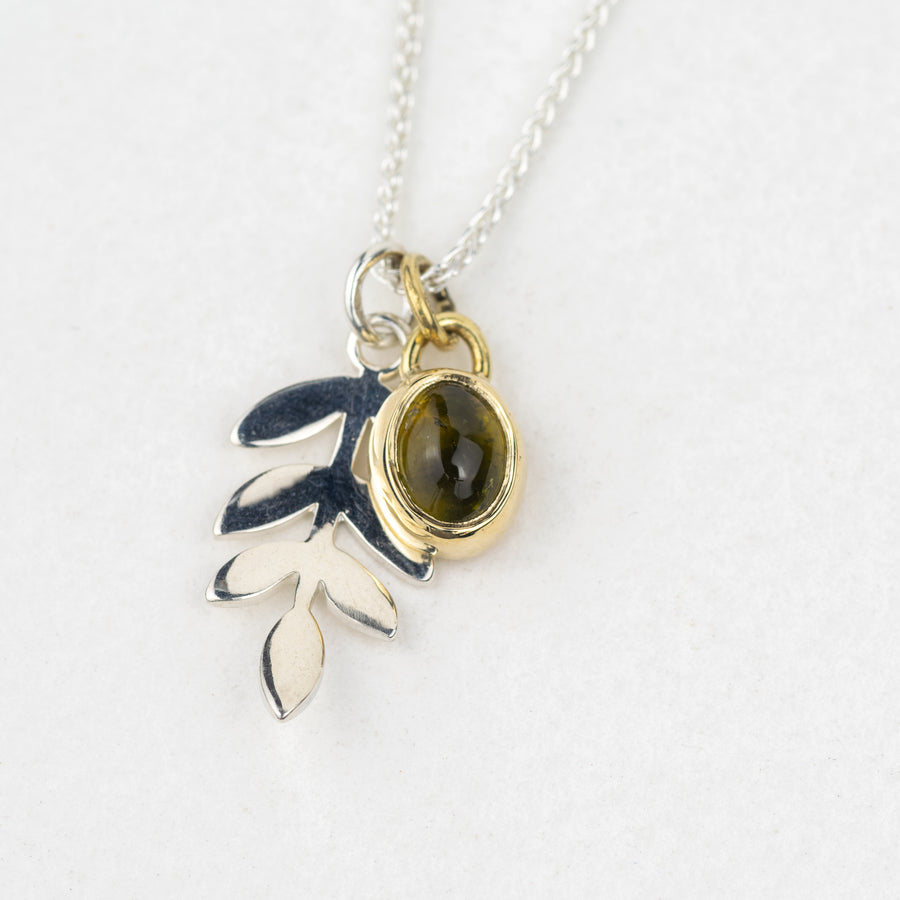 Jorunn Silver and Gold Oval Olive Green Tourmaline Leaf Pendant