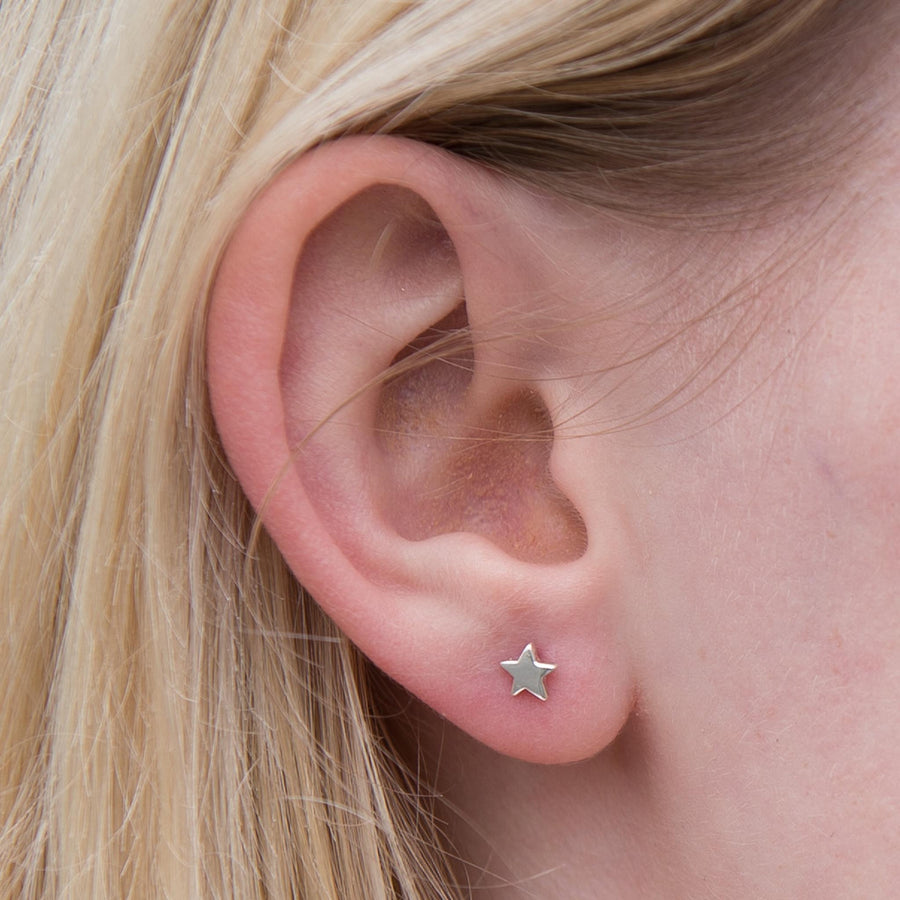 Silver Moon And Star Studs