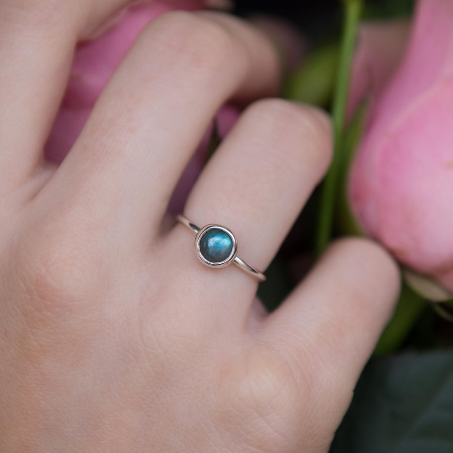 Single 6mm Gemstone Stacking Ring