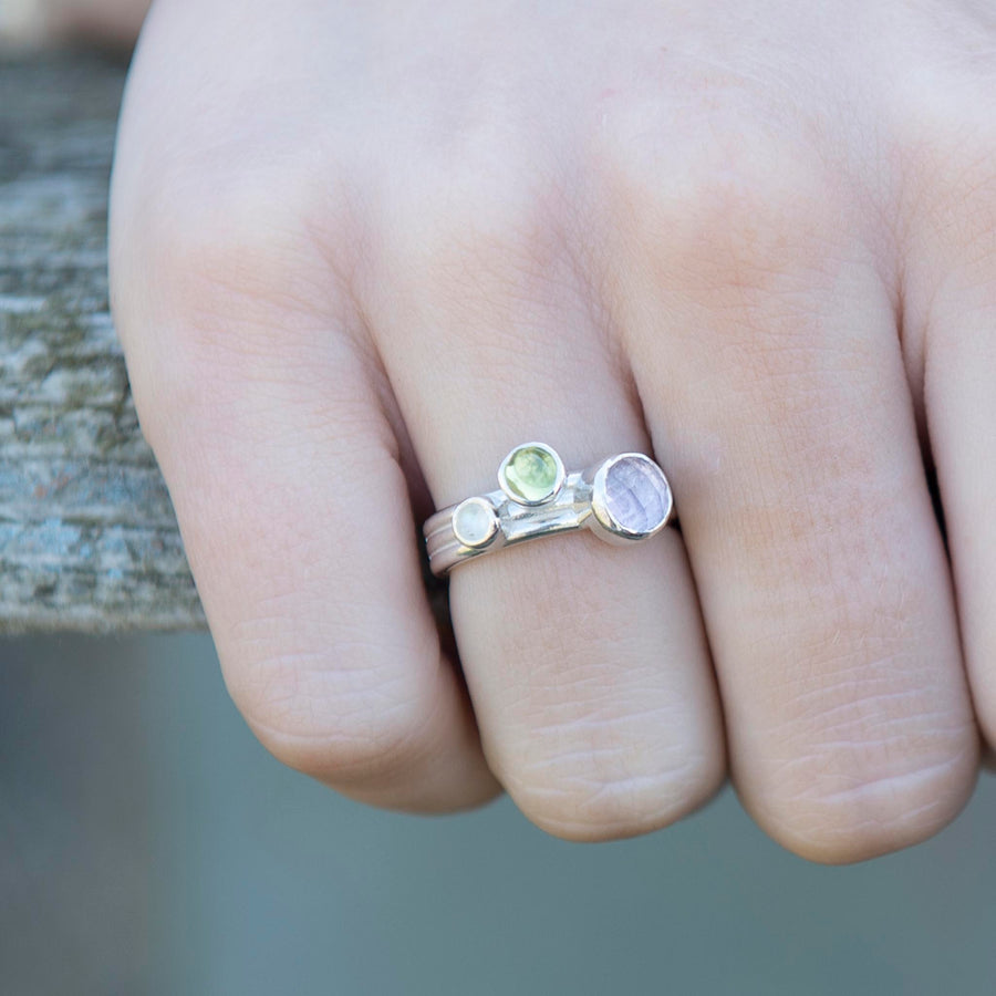 Dewberry Amethyst solid Nebula ring