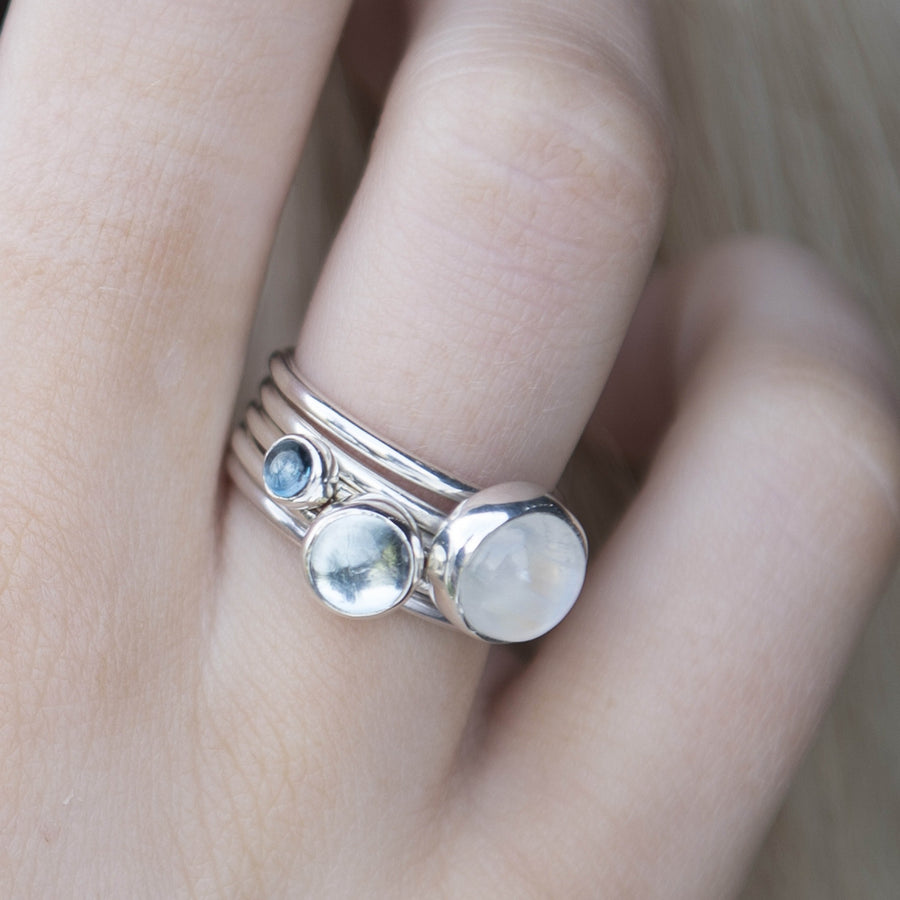 Icicle: Moonstone and Blue Topaz Stacking Rings