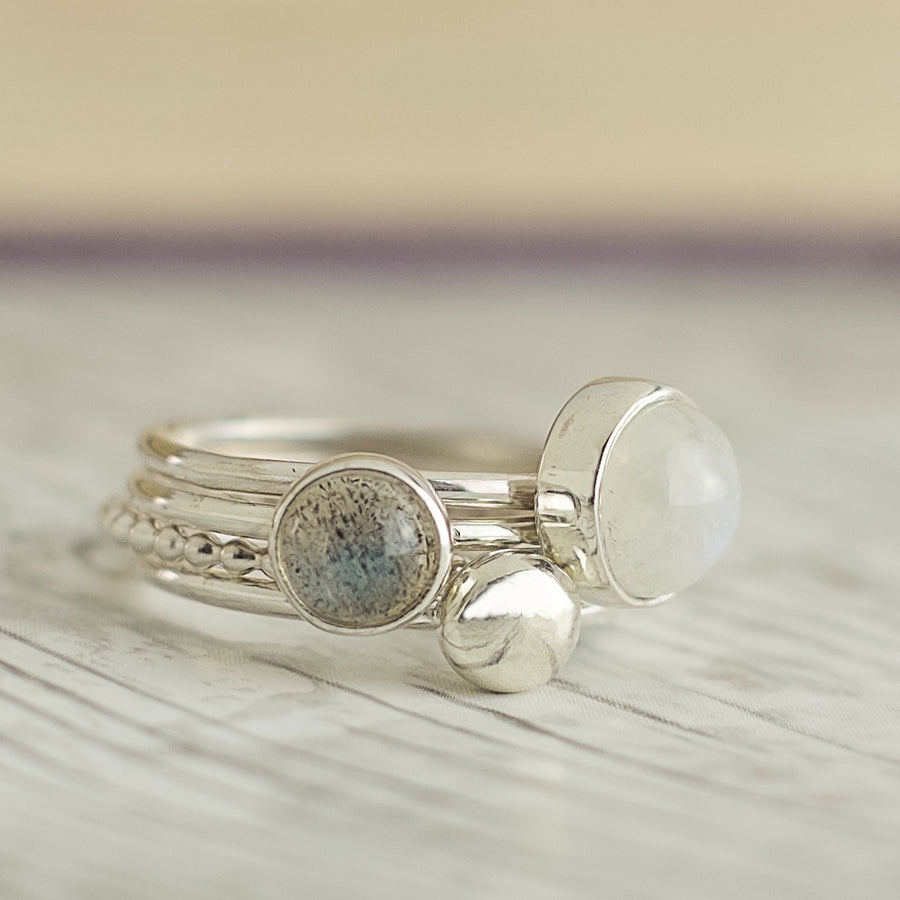 Mist: Moonstone and Labradorite Stacking Rings
