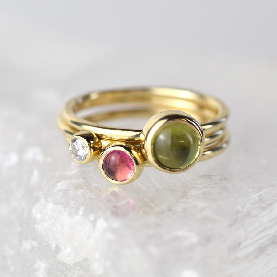 Pink Tourmaline Gold Stacking Ring