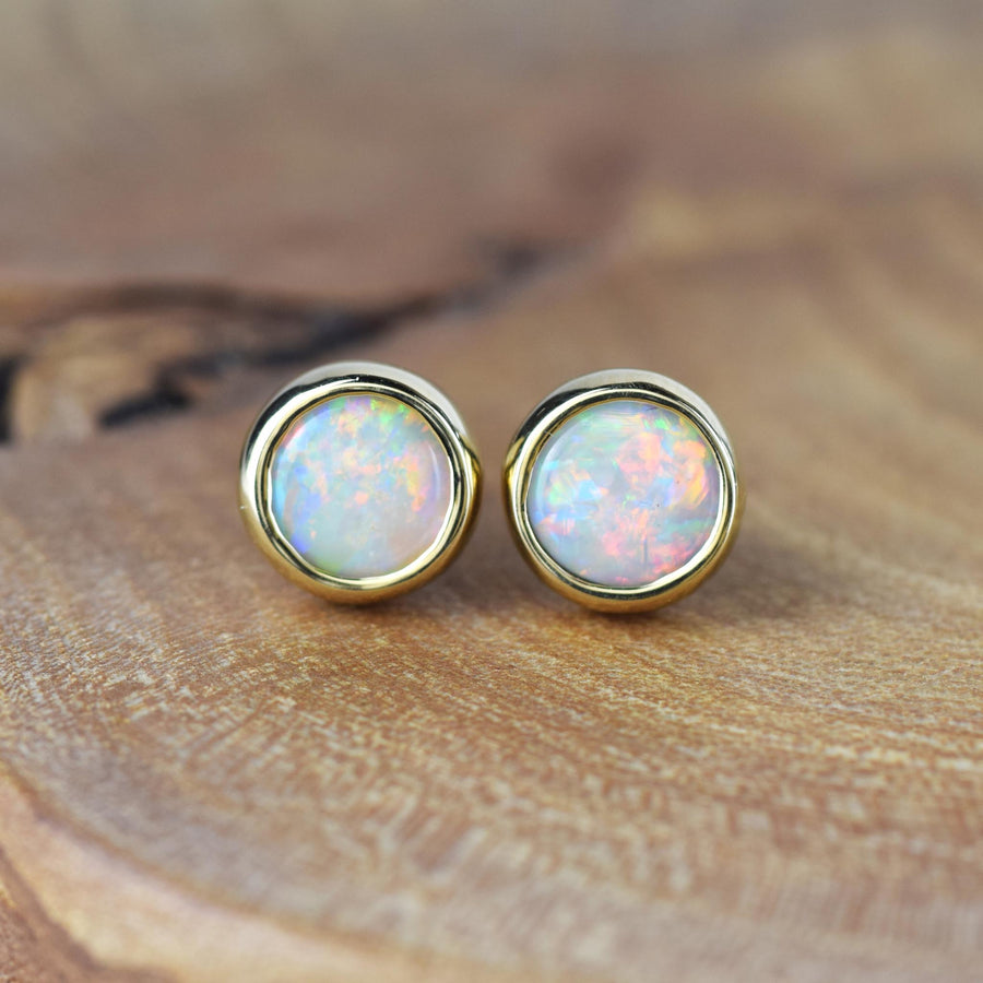 Large Opal Gold Studs