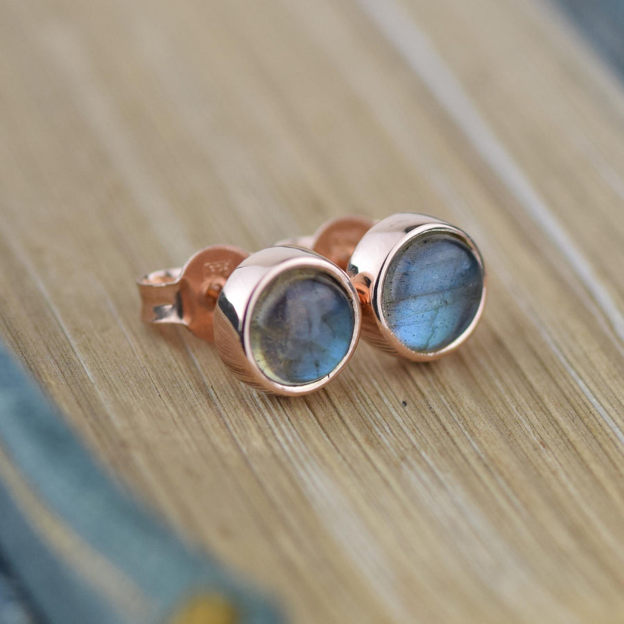 Rose Gold Labradorite Gemstone Studs