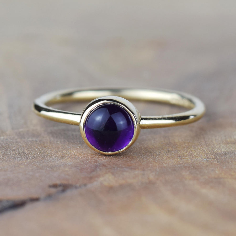 6mm Amethyst Solid Gold Stacking Ring