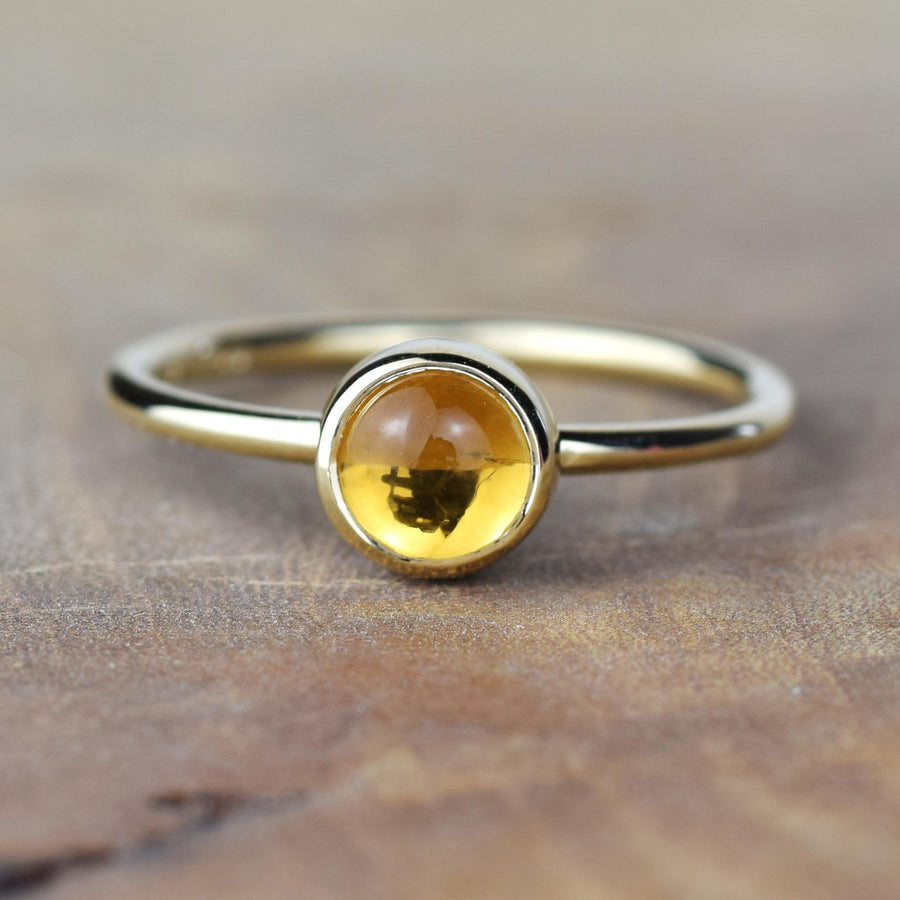 6mm Citrine Solid Gold Stacking Ring