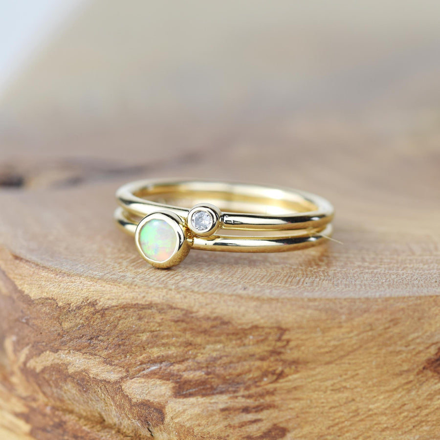 Opal Gold Stacking Ring