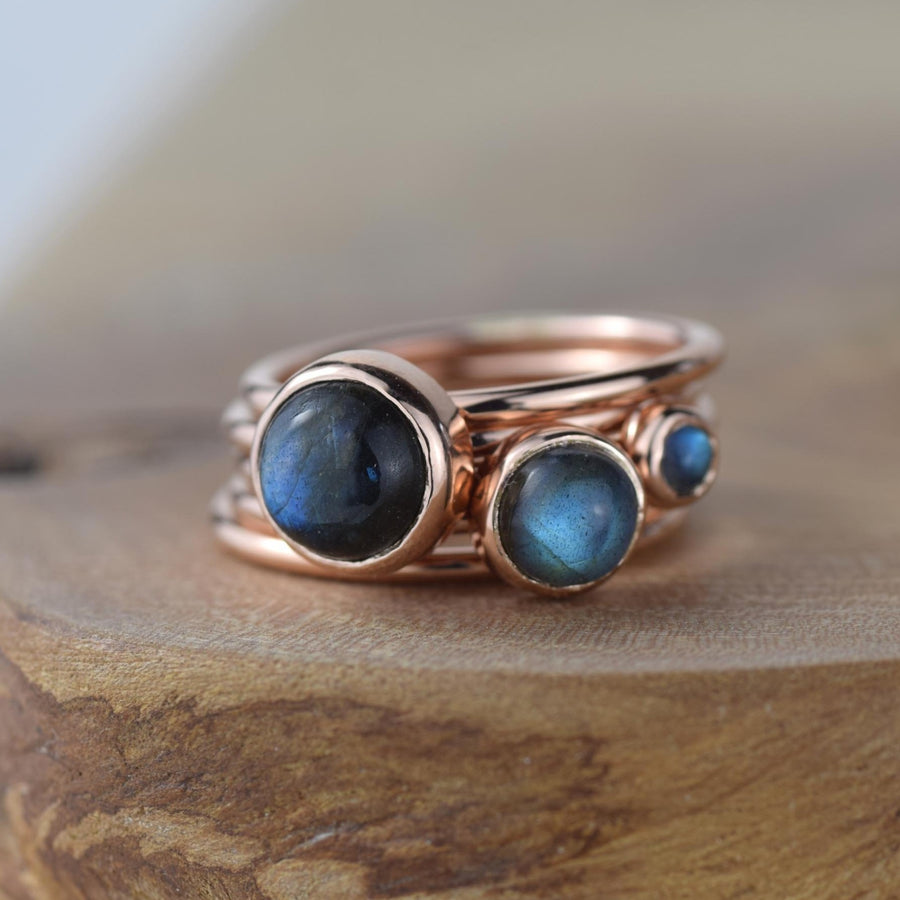 Red Storm Labradorite And Rose Gold Stacking Rings