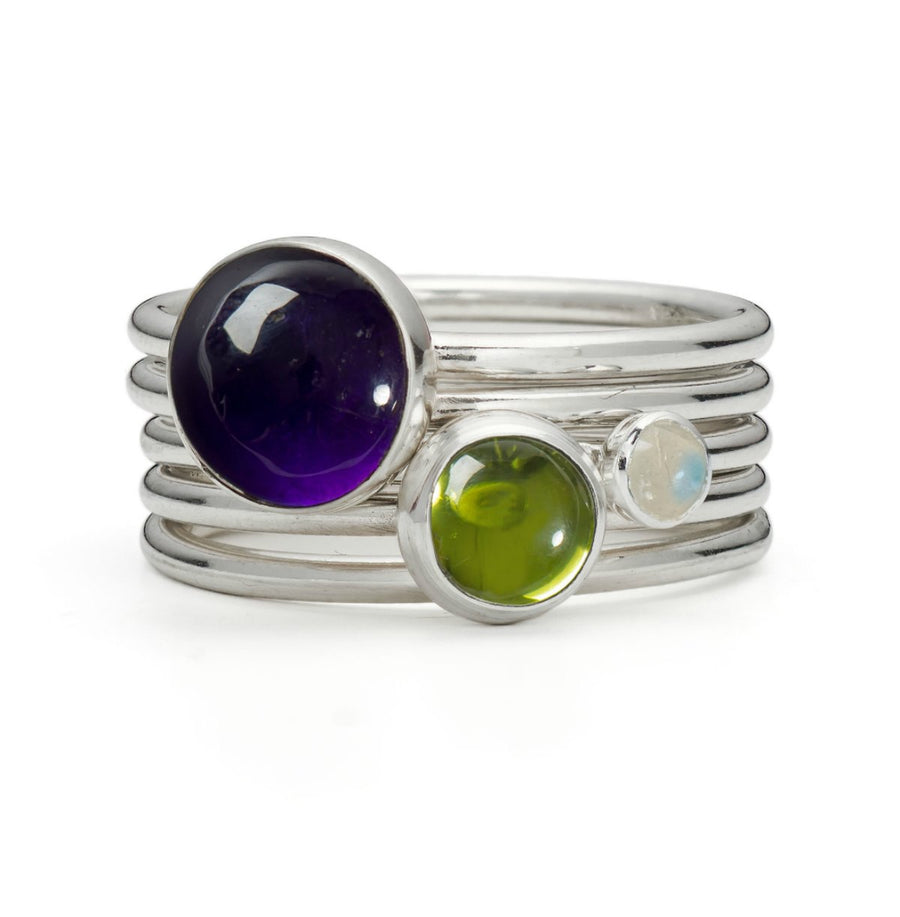 Whimberry: Amethyst, Peridot and Moonstone Stacking Ring