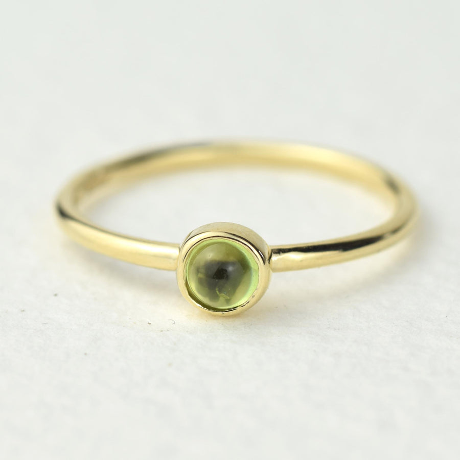 4mm Peridot Solid Gold Stacking Ring