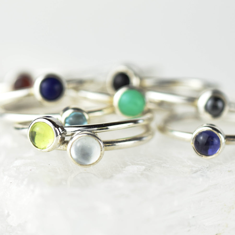 Single 4mm Gemstone Stacking Ring