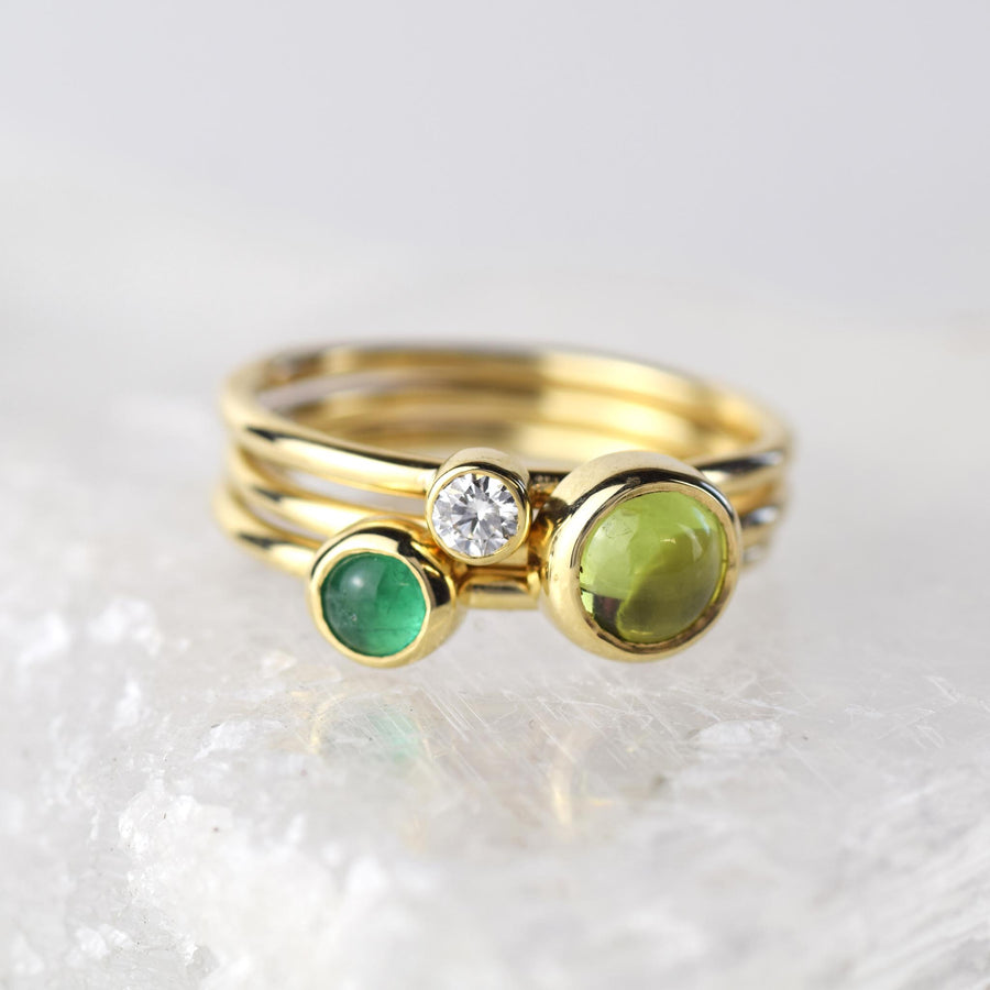 6mm Peridot Solid Gold Stacking Ring