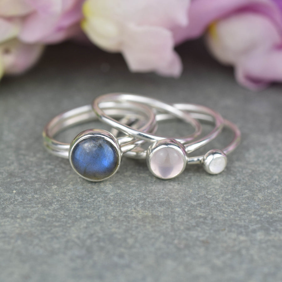 Frozen: Labradorite and Rose Quartz Stacking Ring