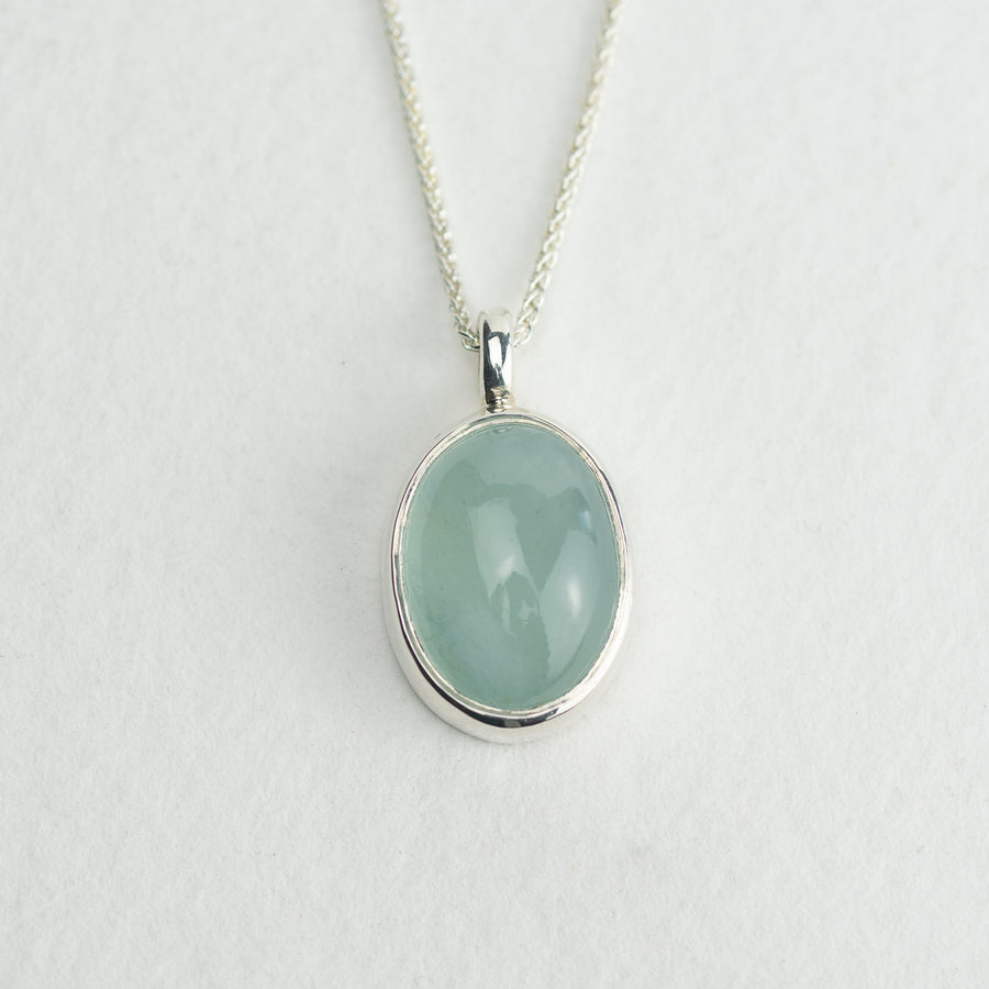 One Of A Kind Oval Aquamarine Pendant - No.18