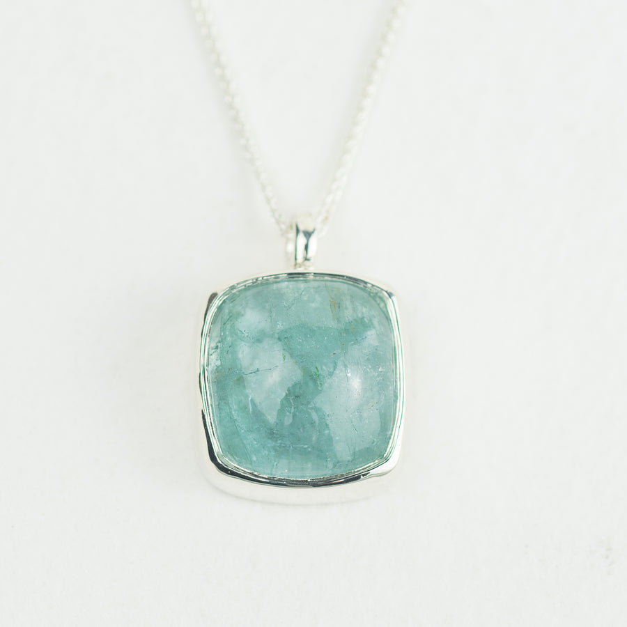 One Of A Kind Square Aquamarine Pendant - No.95