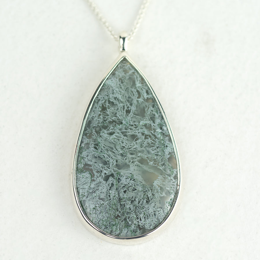 One Of A Kind Silver Moss Agate Pendant - No.551