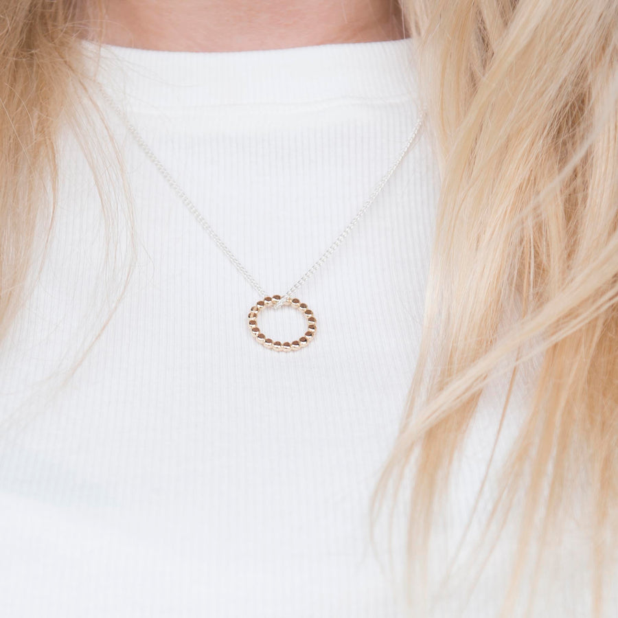 Gold Single Pebble Hoop Pendant