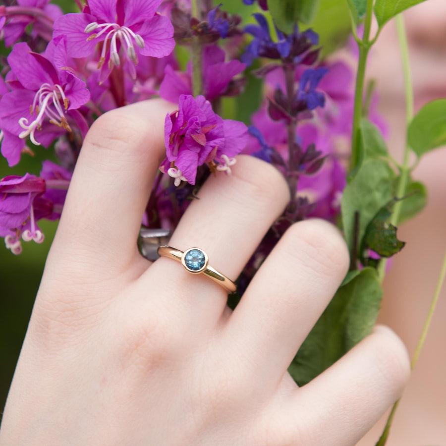 London Blue Topaz Gold Solitaire Ring
