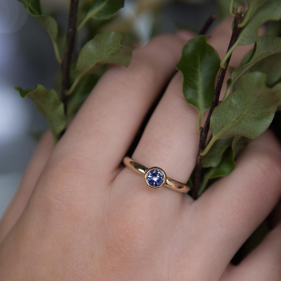 Tanzanite Gold Solitaire Ring