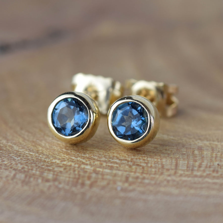 London Blue Topaz Gold Solitaire Stud Earrings