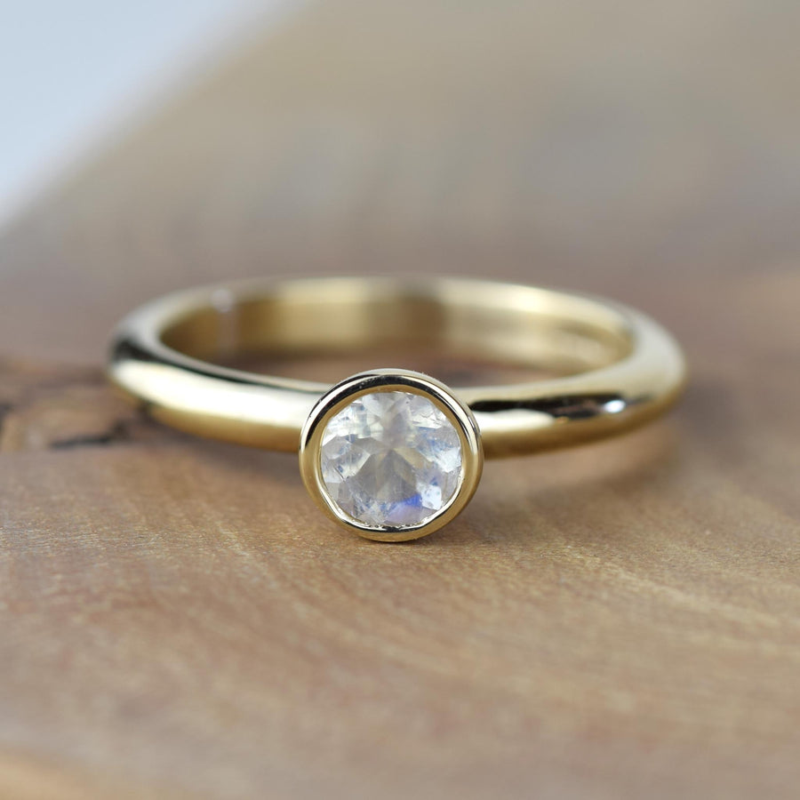 Moonstone Gold Solitaire Ring