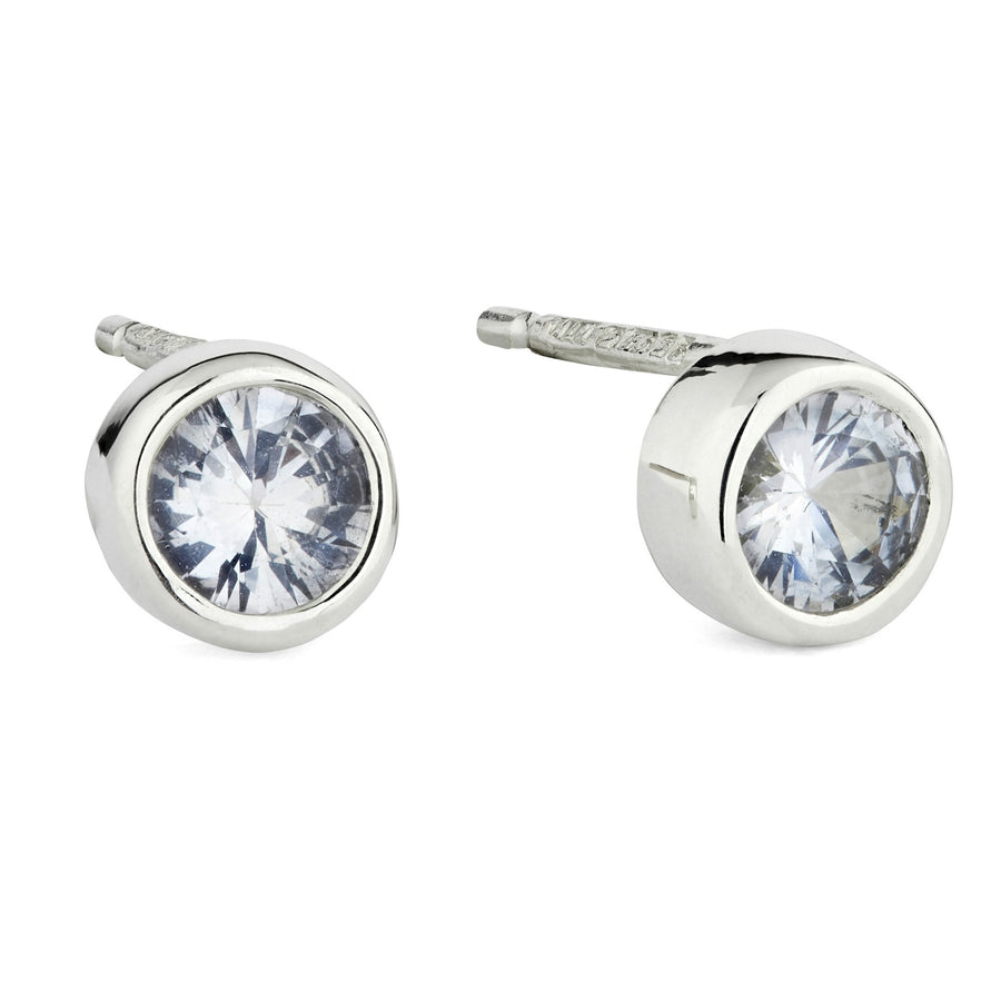 White Sapphire White Gold Solitaire Stud Earrings