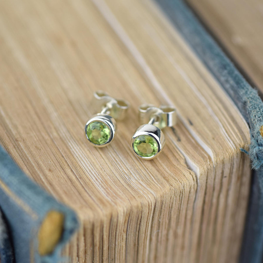 Peridot Gold Solitaire Stud Earrings